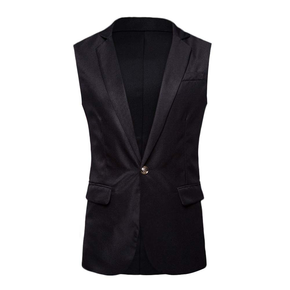 PASATO Men's Autumn Winter Formal Bussiness Tuxedo Suit Waistcoat Vest Jacket Top Coat New Hot!(Black, XXL)