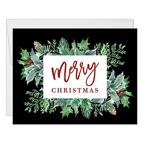 Merry Christmas Greeting Cards Box (Set of 50) Modern Classic Holly Berry Holiday Notecards with Envelopes Boxed Pack Blank Inside Business Personal Stationery Excellent Value by Digibuddha VH0005 ()