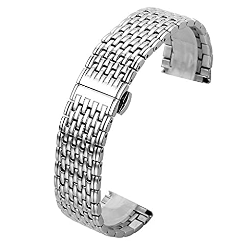 Top Plaza 22MM Silver Solid Stainless Steel Straight End Link Bracelet Wrist Watch Band Strap Replacement Double Push Spring Butterfly Deployment Clasp 9 Rows Metal - Stainless Steel Butterfly Deployment Clasp