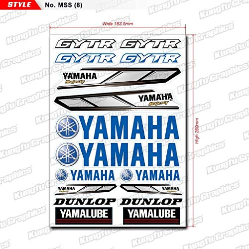Yamaha Motorcycle Stickers - Kungfu Graphics Yamaha Dunlop GYTR Micro Sponsor Logo Racing Sticker Sheet Universal (7.2x 10.2 inch), Blue