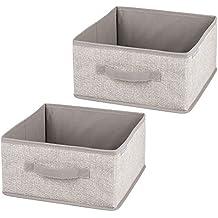 InterDesign Aldo Fabric Closet Storage Organizer Half- Cubes for Clothing, Blankets, Accessories – Pack of 2, Linen