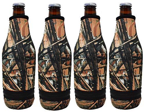 TahoeBay 4 Beer Bottle Sleeves - Easy-On Bottom Zipper - Extra Thick Neoprene Blank Drink Cooler (Camo, 4)