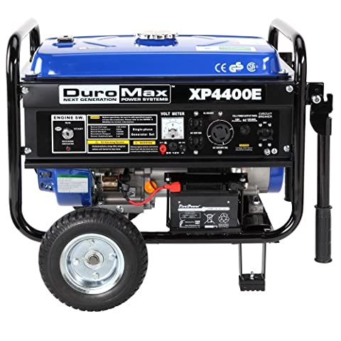 DuroMax XP4400E 4,400 Watt 7.0 HP OHV 4-Cycle Gas Powered Portable Generator With Wheel Kit And Electric (Power Gas Generator)