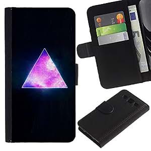 KingStore / Leather Etui en cuir / Samsung Galaxy S3 III I9300 / Pirámide Espacio Cosmos Universo de la galaxia Triángulo
