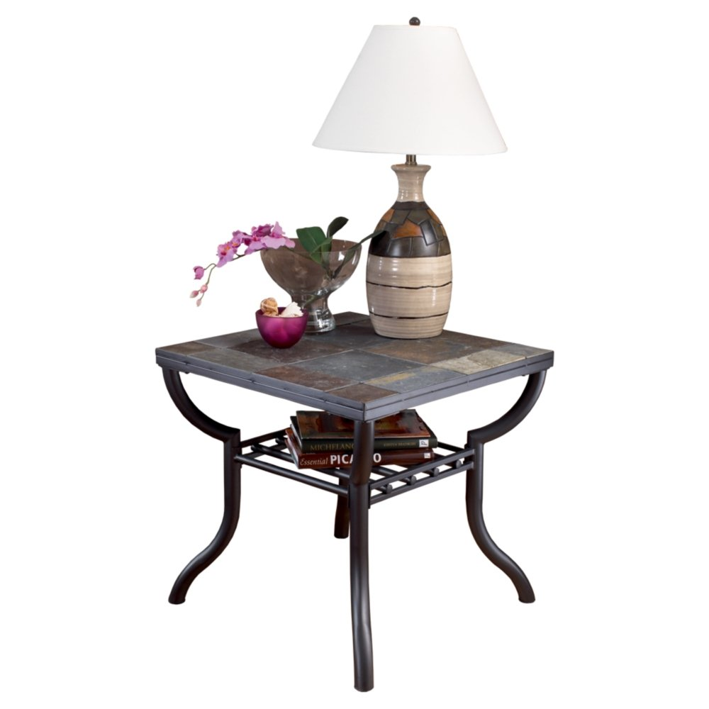 Ashley Furniture Signature Design - Antigo Living Room End Table - Slated Top with Metal Bottom - Contemporary - Black