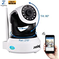 Security Camera - JUNING 720P HD Wifi Wireless IP Security Surveillance Camera System with Day/Night Vision, Remote Pan Tilt Control and 2 Way Audio