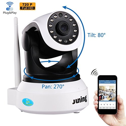 51KMlbHpRIL - Security Camera - JUNING 720P HD Wifi Wireless IP Security Surveillance Camera System with Day/Night Vision, Remote Pan Tilt Control and 2 Way Audio