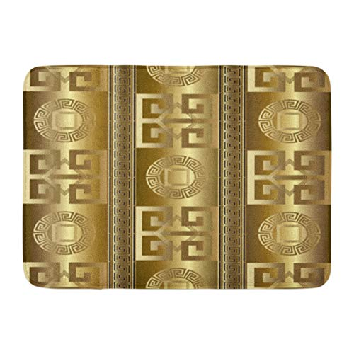 - Emvency Bath Mat Versace Modern Abstract Geometric with Antique Gold 3D Vintage Greek Key Squares Circles Rhombus Greece Bathroom Decor Rug 16