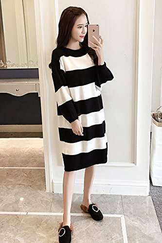 a188c82ab22 Amazon.com   Korean autumn thickening striped knit dress and long sections  loose Puff hit color sweater dress bottoming female for women girl   Beauty