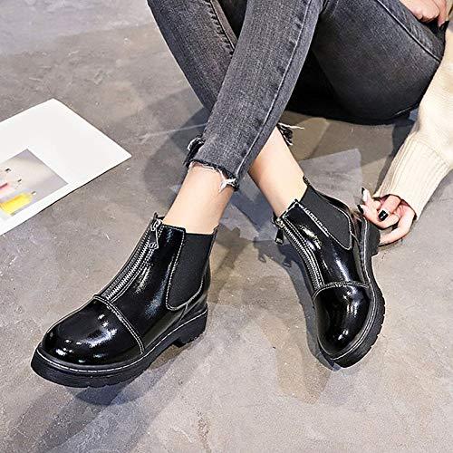 IWxez Damenmode Stiefel PU (Polyurethan) Herbst Minimalismus Stiefel Stiefel Stiefel Niedrige Ferse runde Kappe Stiefelies Stiefeletten Schwarz 02a58a
