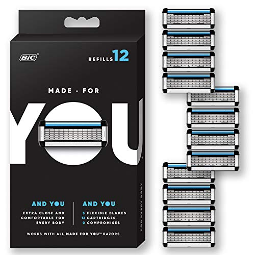 Made for YOU by BIC Shaving Razor Blades for Men and Women, 12-Count - Refill Cartridges with 5 Blades for a  Close Shave with Aloe Vera and Vitamin E for Smooth Glide
