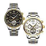 Dovewill 2 Pieces Kinyued Men's Calendar Luminous Analog Automatic Mechanical Wristwatch