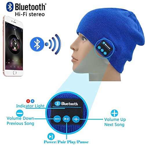 I-Sonite (Blue Unisex One Size Winter Beanie Hat with Built-in Wireless...
