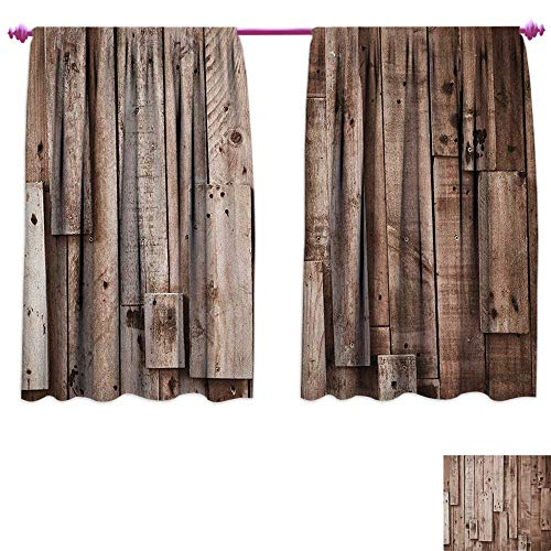 homefeel Wooden Waterproof Window Curtain Vintage Barn Shed Floor Wall Planks Sepia Art Old Natural Plywood Lodge Image Print Patterned Drape for Glass Door W55 x L45 Grey Brown