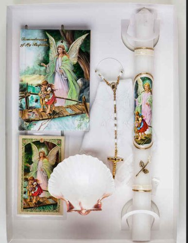 Baptismal Gift Set -Child Baptized, Includes: Remembrance Missal, Sculptured Paraffin Candle with Matching Design, Mini Remembrance Certificate, 3mm Pearl Rosary, Small Scapular, Natural Seashell