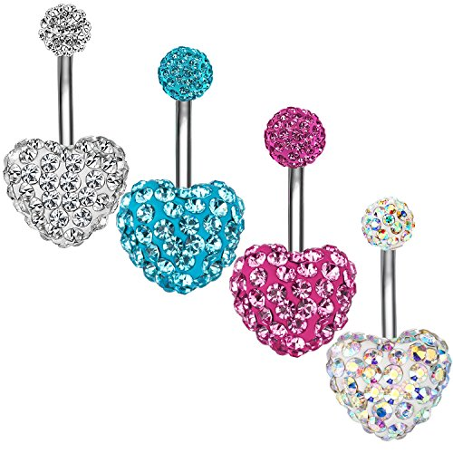 4Pcs Belly Button Rings 14G Heart Crystal Navel Rings Stainless Steel Body Piercing Jewelry (4Pcs Heart 14G=1.6mm) - Crystal Heart Navel Ring