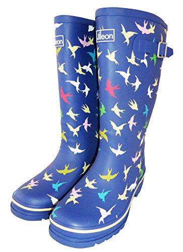 Jileon Wide Calf All Weather Strapazierfähige Gummi-Regen-Stiefel für Frauen-Soft & Flauschige Futter auf der Innenseite passt Wadengrößen bis zu 18 Zoll Marineblau mit Vögeln