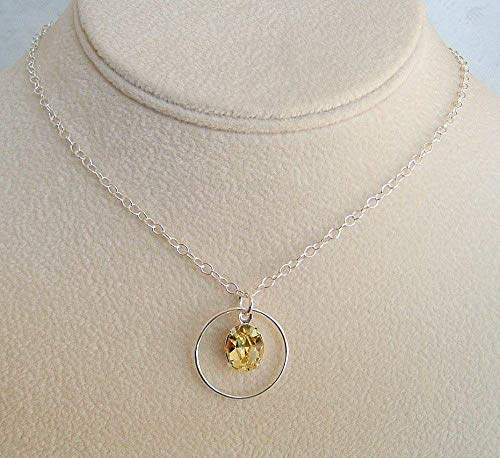 Light Yellow Oval Crystal Sterling Silver 18 Inch Necklace Gift Idea