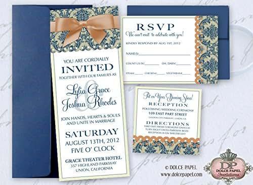 Navy And Peach Wedding Invitations: Amazon.com: 10 Peach And Navy Blue Rich Damask Tea Wedding