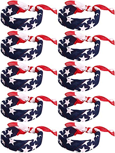 Trounistro 10 pieces American Flag Bandanas Headband USA Flag Headband 100% Cotton Bandanas USA Apparel USA Clothing Bandana Patriotic Accessories, Medium ()