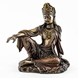 Top Collection H 7.25'' W 6.5'' Water & Moon Quan Yin in Royal Ease Pose Statue in Cold Cast Bronze - Goddess of Mercy Buddha Statue