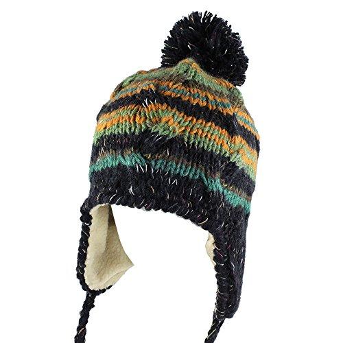 Morehats Multi Stripe Knit Pom Pom Handmade Trapper Aviator Beanie Winter Ski Warm Hat
