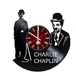Charlie Chaplin decor Vinyl Record Wall Clock - Get unique kitchen wall décor - Gift ideas for mother and father - Unique movie art design - Leave us a feedback and win your custom clock