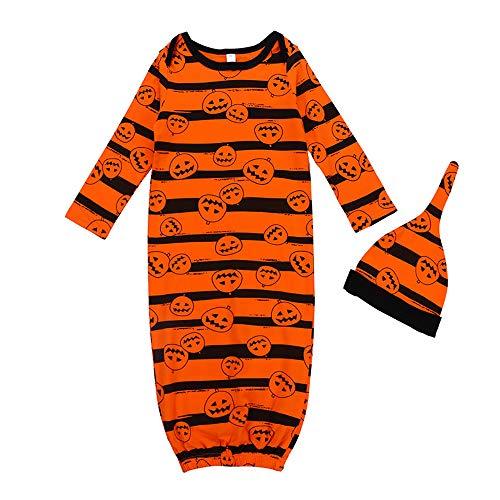 (Baby Halloween Sleeping Bag Swaddle Clothes Pajamas,Newborn Baby Pumpkin Long Sleeve Outfits Clothes Set Anti-Kick Striped Blanket Sleep Sack Stroller Wrap)