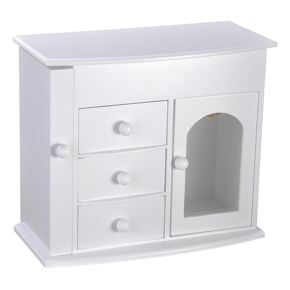 Jewelry Box Case Built-in Mirror Ring Earring Necklace Organizer Storage White