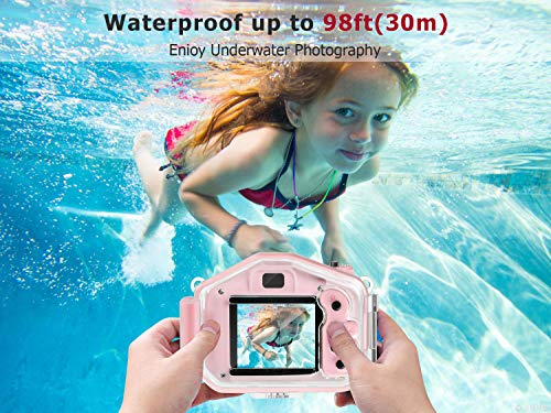 Agoigo Kids Waterproof Camera Toys for 3-12 Year Old Boys Girls Christmas Birthday Gifts Children's HD Video Digital Action Cameras Child Indoor Outdoor Toddler Camcorder Camera, 2 Inch Screen (Pink)