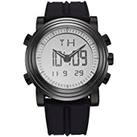 SINOBI Analogue - LED Electronic Digital Mens Multifunctional Sport Quartz Watch with Military Alarm Stopwatch and Black Rubber Strap