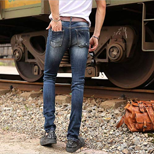 Demin Jeans Vintage Pantaloni Blau Fit Foro Uomini Stretch Men Sottili Moda Denim Slim Distressed Strappato qYwpt1