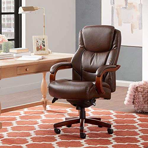 La-Z-Boy Delano Big & Tall Executive Office, High Back Ergonomic Desk Chair with Lumbar Support, Mahogany Wood Finish, Chestnut Brown