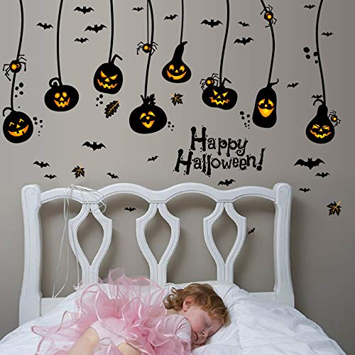 ajhsuwn Happy Halloween Household Room Wall Sticker Mural Decor Decal Removable New Halloween Pumpkin Lantern Wall Sticker for Kids Room