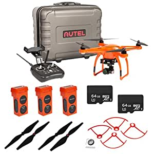 Autel Robotics X-Star Premium Drone with 4K Camera, HD Live View (Orange) EVERYTHING YOU NEED KIT + 3 Total X Star Batteries + 2 Total 64GB Micro SDXC Cards + Propeller Guards, Propellers & Hard Case