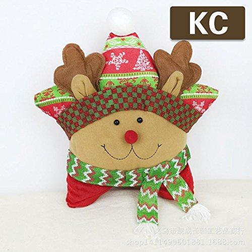 Christmas Decorations Christmas Head Pillow Cushion Star Shaped Pillow Plush Cushion for Sofa Bed Home Decor