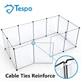 Pet Playpen Animal Fence Cage - Tespo Expandable Plastic Transparent Exercise Pen Crate Kennel for Small Puppy Dog, Bunny, Rabbit & Guinea Pigs, Upgrade 12 Panels