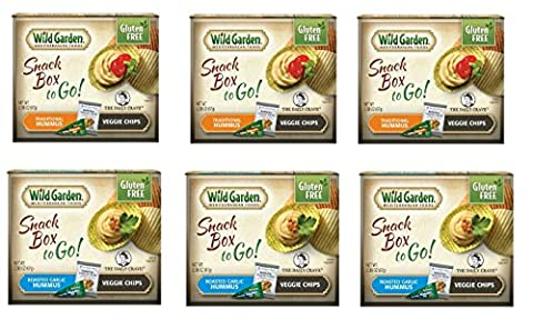 Wild Garden Hummus Snack Combo To-Go 6 Pack Variety Pack (3- Roasted Garlic Hummus/Veggie Chips, 3- Traditional Hummus/Veggie (Roasted Garlic Hummus)