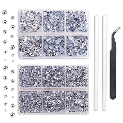 Outuxed 5040pcs Clear Hotfix Rhinestones 6 Mixed