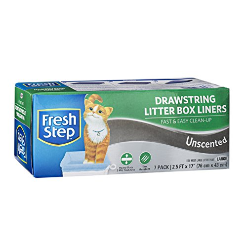 Fresh Step Drawstring Cat Litter Box Liners, Unscented, Size Large, 30