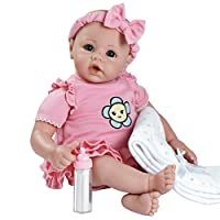 """Adora BabyTime Pink 16"""" Weighted Girl Play Doll Gift Set Ensemble for Toddlers 3+ (Includes Bottle & Blanket Snuggle Soft Huggable Vinyl Toy)"""