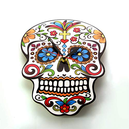 xushihanjjli Wall Clocks Mexican Day of The Dead Floral Skull Modern Candy Sugar Skull Halloween Can Well Decorate Home Office Coffee Bar Hotel Restaurant ()