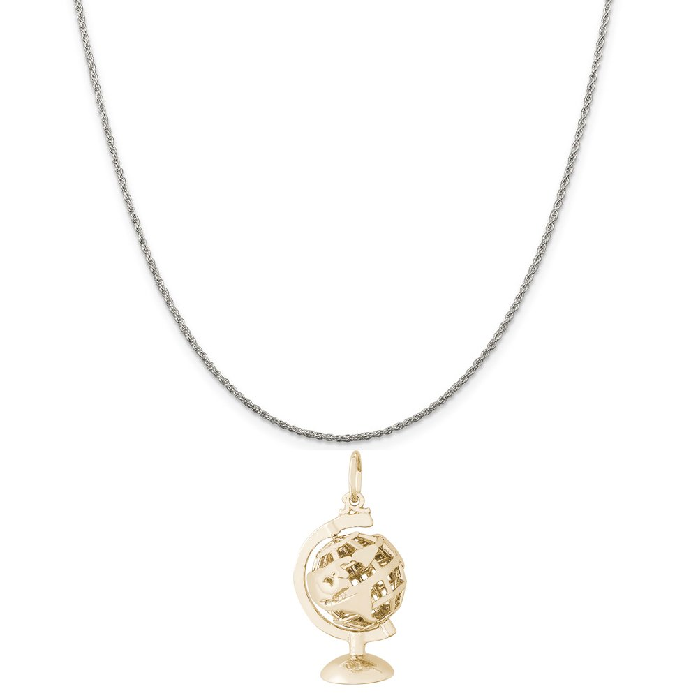 18 or 20 inch Rope Rembrandt Charms Two-Tone Sterling Silver Globe with Stand Charm on a Sterling Silver 16 Box or Curb Chain Necklace