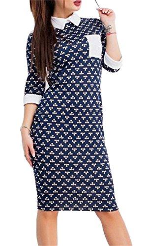 Blue Slim Domple Bodycon Pocket Women's 3 Midi Royal Party Dress Sleeve Print 4 ZpZ7wqr
