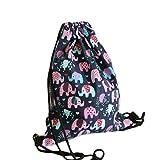 Hosaire Drawstring Bag Blue Elephant Printing Folding Backpack Gym Sport Backpack Home Travel Sport Storage for Teen Young Girls