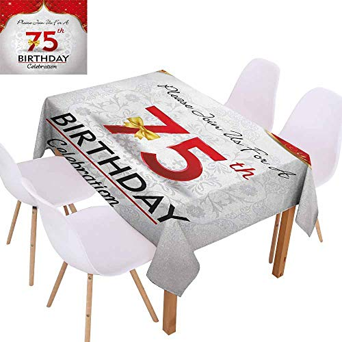 UHOO2018 75th Birthday,Decorative Tablecloth,Royal Birthday Party Floral Invitation Ceremony Please Join Us,Great for Buffet Table, Parties,Gold Vermilion Silver,60