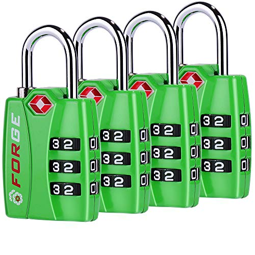 Forge TSA Locks 4 Pack Green - Open Alert Indicator, Easy Read Dials, Alloy Body