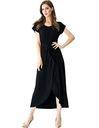 8da91908c3eb Aphratti Women's Casual Short Sleeve Slit Beach Summer Asymmetrical Maxi  Dress Black Small