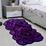 ONEONEY Thick Bedroom Carpet Mat Rose Carpet Red Roses Doormat Rose Flowers Bedroom Carpet(Purple,70*140cm)