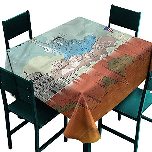 DONEECKL Oil-Proof and Leak-Proof Tablecloth American USA National Heritages Table Decoration W50 xL50